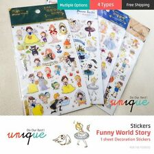 (4 Types) Funny World Story Stickers Diary Deco 1 sheet