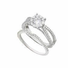 Sterling Silver CZ Wedding Ring Set 1/2 ct Cubic Zirconia CZ