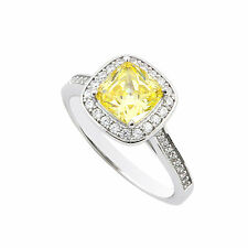 Sterling Silver 2ct Canary Yellow Princess Cut Designer Cubic Zirconia Ring