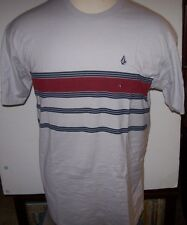 NEW Volcom Stone short sleeve t shirt gray red stripe small medium large S M  L
