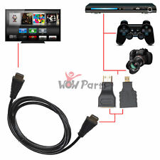 3 in 1 HD High Speed HDMI to Micro/Mini HDMI Cable Adapter for PC TV PS4 DVD Tab