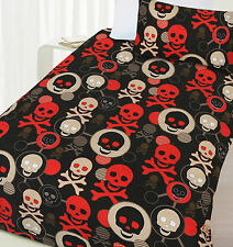 Skull Black Red Boys Glow in Dark Quilt Doona Cover Set - SINGLE DOUBLE QUEEN