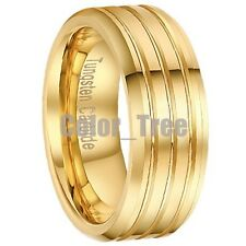 8mm Men Tungsten Carbide 18K Gold Plated Polish Wedding Band Ring Size 7-13 NEW