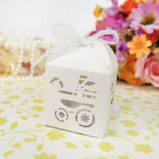 50pcs Carriage Laser Cut Wedding Favor Candy Gift Boxes w/Ribbon Baby Shower Box