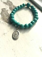 Saint Christopher Medal - Beaded Bracelet - 925 Sterling Silver - PERSONALIZED