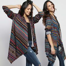 TheMogan Plus Asymmetric Drape Fair Isle Print Knit Sweater Open Front Cardigan