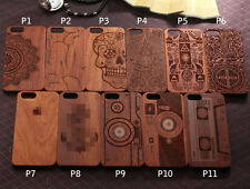 Genuine Natural Carved Wood Wooden Hard Case Cover For iPhone5 5S 6 6s 6sPlus