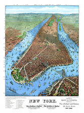 Port of NY: birds eye view of Manhattan New York City, Trinity Church Map Poster