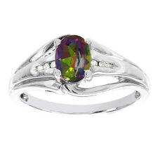 H Star Sterling Silver Oval Mystic Fire Topaz Diamond Accent Ring