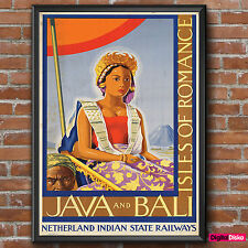 Java and Bali Isles of Romance Vintage Poster Print -A3/A4 FREE UK P&P