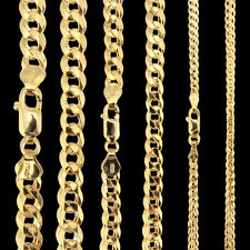 "925 Mens 18ct Gold Plated Sterling Silver Curb 18 20 22"" Chain Necklace Bracelet"