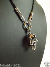 Trendy Leather necklace with Stainless Steel Pendant Scull Death Head Fb.