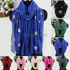 Fashion Womens Embroidered Flowers Cotton Stitching Soft Long/Infinity Scarf New