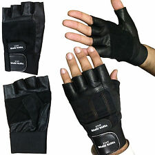 GENUINE LEATHER FINGERLESS DOUBLE STRAP GLOVES WEIGHT LIFTING GYM DRIVING
