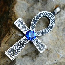 Ankh Cross of life Celtic Acrylic Crystal Blue Sapphire September pewter pendant