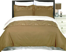 Geneva Taupe & Gold 300 Thread count 3PC Embroidered Duvet Cover Set