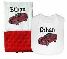New Personalized Handmade Baby Boy Red Sports Car Theme Bib and Burp Cloth Set