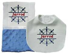New Handmade Blue Embroidered Personalized Baby Boy Nautical Bib and Burp Cloth
