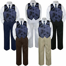 4pc Boy Suit Set Navy Blue Vest Necktie Baby Toddler Kid Pants S-7