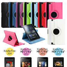 Case Cover W Stand 360 Rotating Pu Leather For Amazon Kindle Fire HD 7 & 8.9 HDX