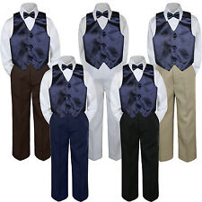 4pc Boys Suit Set Navy Blue Vest Bow Tie Baby Toddler Kids Pants S-7