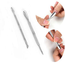 2x Nail Stainless Steel Cuticle Pusher Spoon Remover Manicure Pedicure Tool
