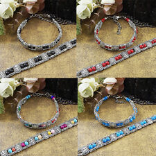 Beads  Tibetan Silver Jewelry Turquoise Chain Bracelet Colorful New More Rows