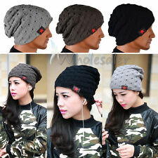 Winter Men Women Knit Beanie Reversible Skull Chunky Baggy Warm Unisex Hat Cap