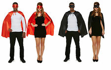 New Adult Unisex Superhero Cape & Mask Mens Ladies Halloween Fancy Dress Costume