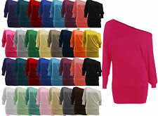 WOMENS ONE OFF SHOULDER BATWING SLEEVE SLOUCHY T-SHIRT BAGGY TOP- LOT SIZES btwn