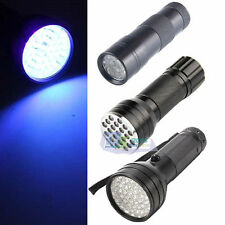 9 12 21 51 LED Ultra Violet UV Flashlight Torch Light Detector Blacklight Lamp