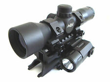 SKS 4x32 Compact Scope with Tactical Red Laser, Flashlight and Tri-rail Mount