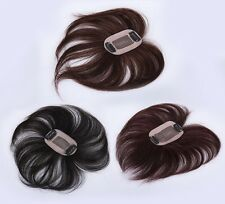 """100% human hair replacement top piece wiglet clip in/on hair for women men 6"""""""
