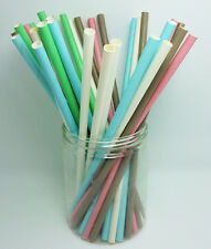 25 pcs Colored Paper Drinking Straws Solid Color Drinking Straws For Party