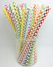 25 pcs Colored Paper Drinking Straws Square Pattern Drinking Straws For Party