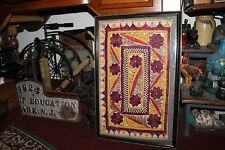 Antique Victorian Needlepoint Sampler Fabric-Unusual Shapes & Colors-Framed-#2