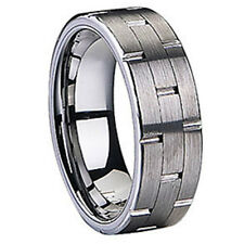 Brushed Groove Ring Tungsten Carbide 7.5mm Wedding Band Comfort Fit - Size 13
