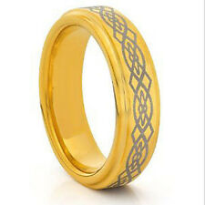 24K Gold IP Etched Celtic Rope Step Beveled 9mm Men Women Tungsten Wedding Ring