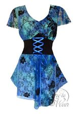 Plus Size Blue Lagoon Printed Lace Sweetheart Corset Top 1X