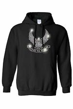 Women's Pullover Hoodie Silver Studs Eagle Live To Ride Biker Motorcycle Chopper