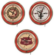 """Indian Motorcycle 15"""" Chrome Double Neon Ring Wall Clock - Choose Logo Design"""