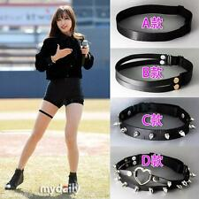 Sexy Harajuku Punk Rivet Goth Rock Handmade Elastic Leather Leg Ring Garter Belt