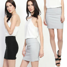 MOGAN S~3X SEXY Stretch High Waisted Pencil Straight Mini Skirt Casual to Formal