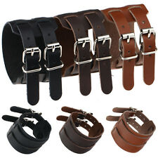 Handmade Genuine Leather Bracelet Wide Punk Belt Buckle Wristband Bangle Jewelry