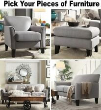 Gray Linen Furniture Set Sofa Loveseat Accent Chair Ottoman Grey Sofas Chairs
