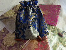 One Lotus Brocade Drawstring Pouch Bag Jewellery Gifts Storage Travel Make-up