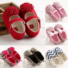 Leopard & Flower Pattern Baby Infant Toddler Boy Girl Shoes Slip-on Soft Sole #U