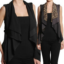 TheMogan Leopard Print or Solid Shawl Collar OPEN FRONT VEST Sleeveless Jacket