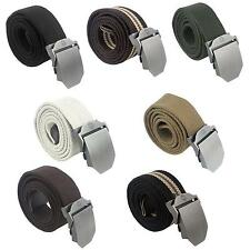 Mens Cool Fashion Slider Buckle Military Style Long Weave Canvas Web Belt