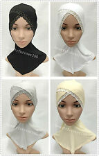 Fashion Cotton Lace Crossover Muslim Inner Hijab Caps Islamic Underscarf Hats